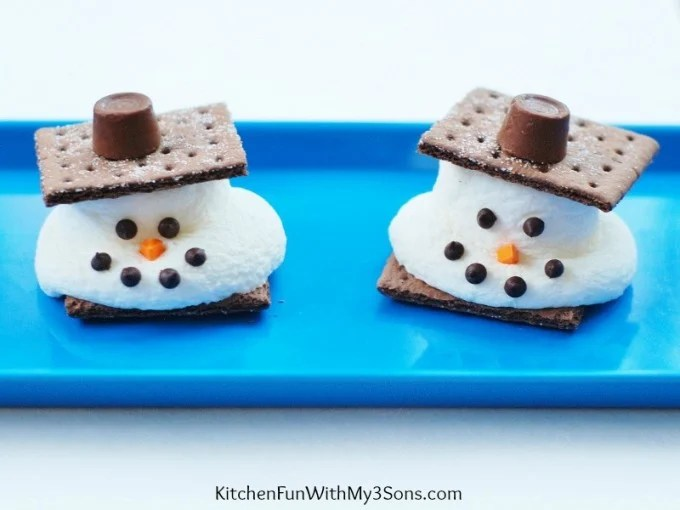 Melted Snowman S'mores for a fun & easy Christmas treat! KitchenFunWithMy3Sons.com