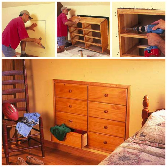 DIY Knee Wall Storage...these are awesome ideas!