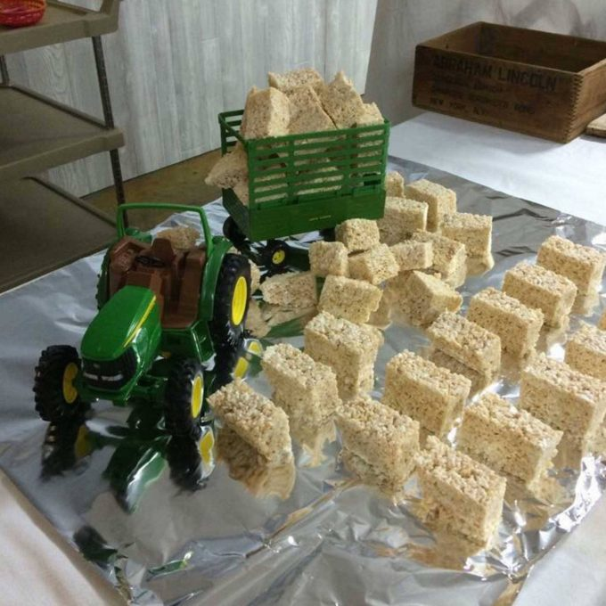 Rice Krispie Treat Hay Bales...so cute for a Tractor party!