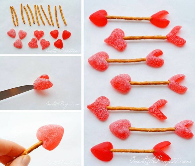 Valentine's Day Cupid Arrow Candy Pretzels