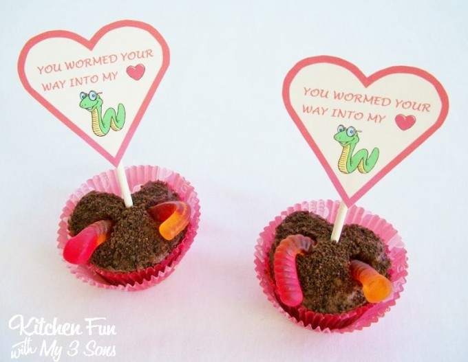 Valentine's Day Gummy Worm Heart Shaped Cupcakes from KitchenFunWithMy3Sons.com