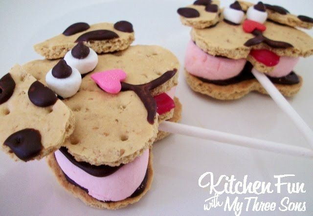 Valentine's Day Puppy Love S'mores Pops from KitchenFunWithMy3Sons.com