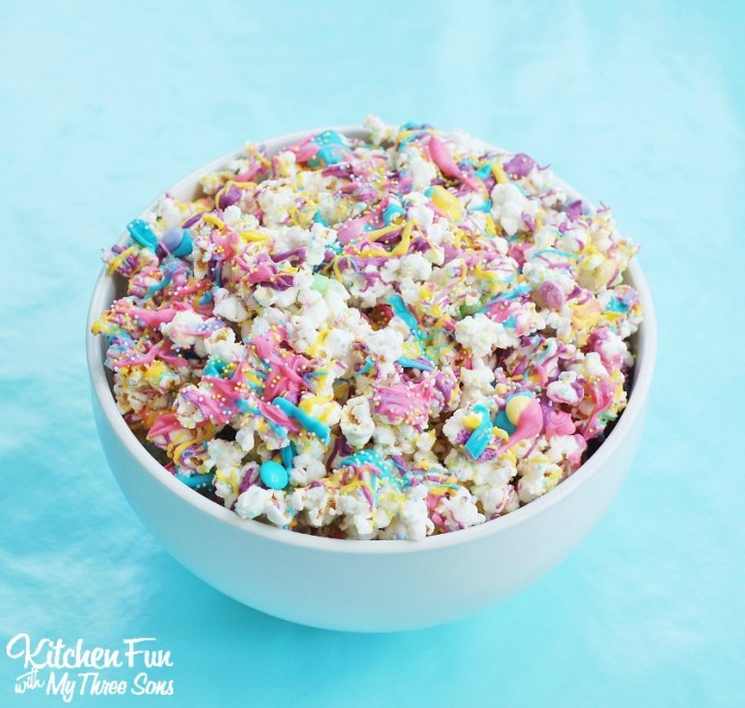 Easter Bunny Bait with White Chocolate Funfetti Popcorn from KitchenFunWithMy3Sons.com