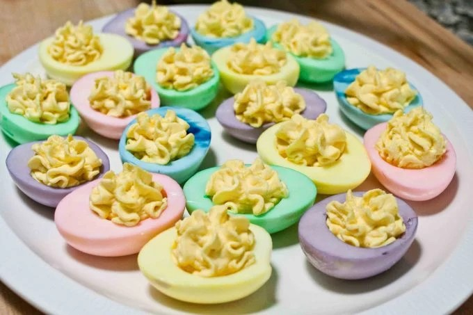 Easter Pastel Deviled Eggs...these are the BEST Easter Food Ideas!