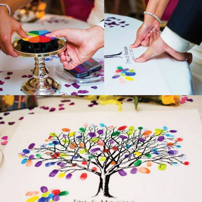 Thumbprint Wedding Guest Tree...these are the BEST Handprint, Thumbprint, and Footprint ideas!