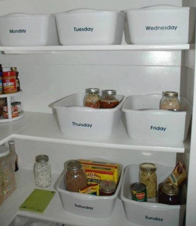 Organize 7 TUBS for what you will have each night for DINNER! These are the Best Organizing ideas!