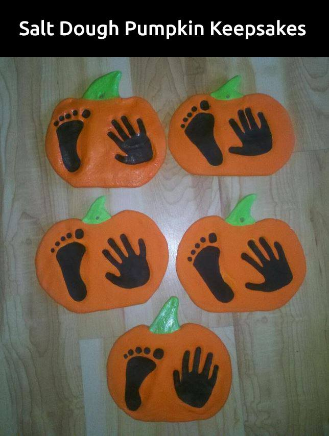 Salt Dough Pumpkin Handprint & Footprint Keepsake...these are the BEST Hand & Footprint Ideas!