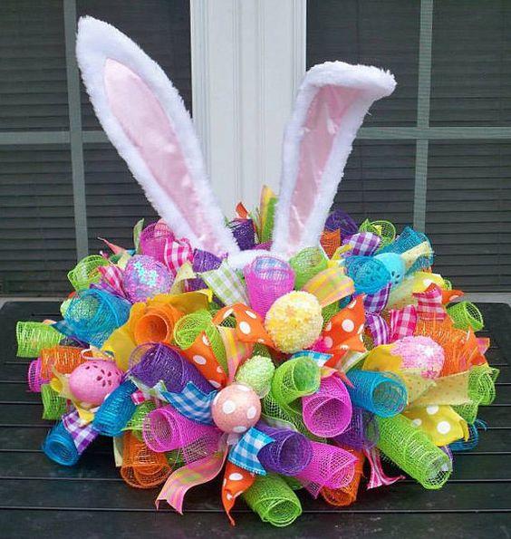 Easter Bunny Mesh, Ribbon, & Egg Centerpiece!