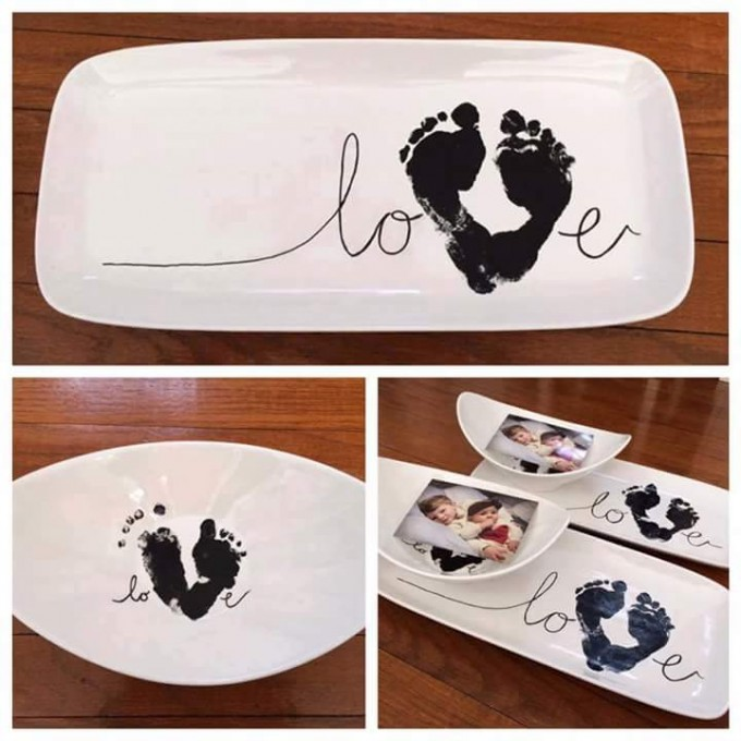 Footprint Heart Plate Keepsake for Valentine's Day!