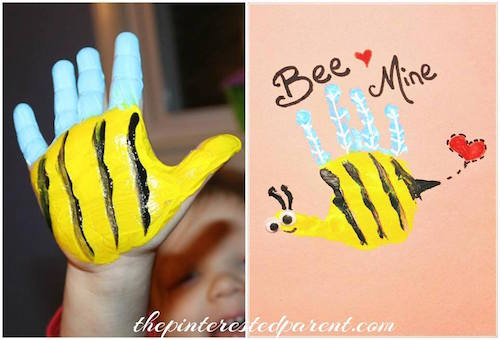 """Bee Mine"" Valentine Handprint Card"