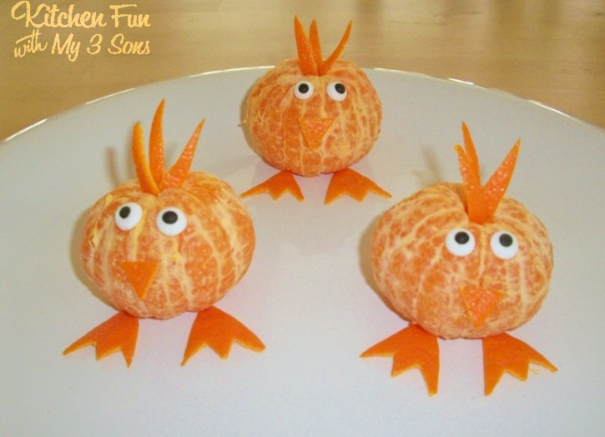 Clementine Chick Fruit Snack for Spring from KitchenFunWithMy3Sons.com