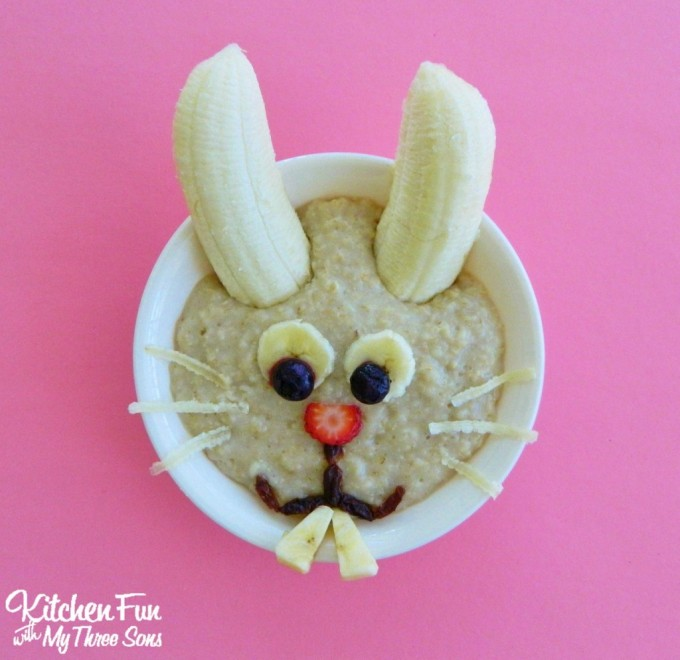 Easter Bunny Oatmeal for a fun Spring Breakfast for the kids from KitchenFunWithMy3Sons.com