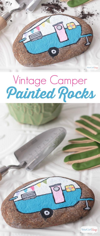 Vintage Camper Painted Rocks