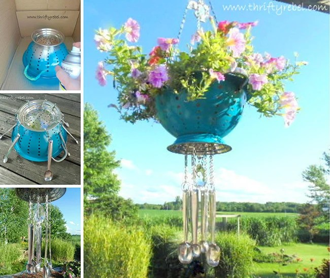 Hanging Colander Flower Pots with Spoon Wind Chimes!