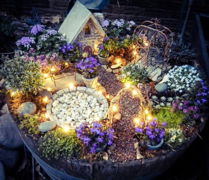 DIY Fairy Garden with Lights