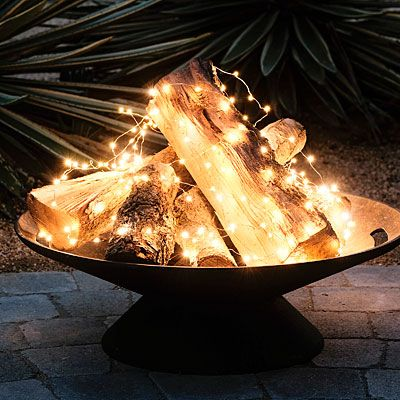 Add Lights to a Firepit instead of burning a real Fire...such a great idea for the Backyard! These are the BEST Garden & DIY Yard Ideas!