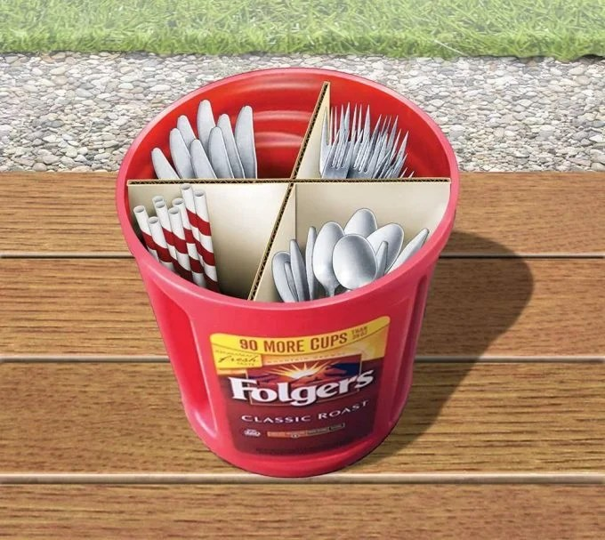 Coffee Container to hold Eating Utensils for Camping