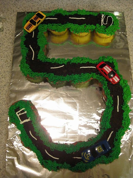 Race Car Track Pull-Apart Cupcake Cake