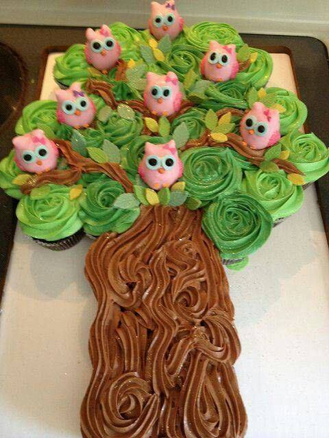 Owls in a Tree Pull-Apart Cupcake Cake
