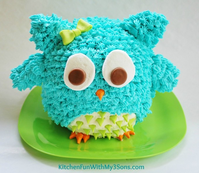 Easy Owl 3D Cake...makes a fun Birthday or Smash Cake from KitchenFunWithMy3Sons.com