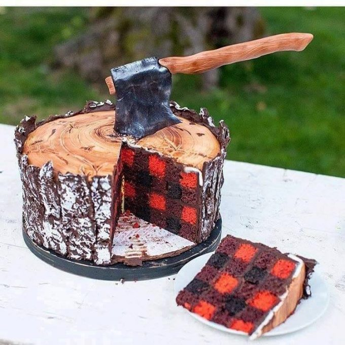 Lumberjack Cake...these are the BEST Cake Ideas!