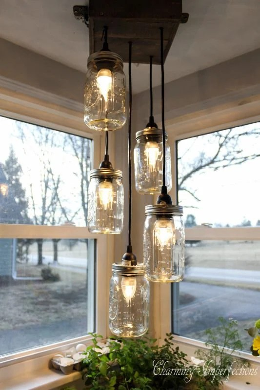 Turn Mason Jars into a hanging Kitchen Chandelier...awesome Upcycled Ideas!