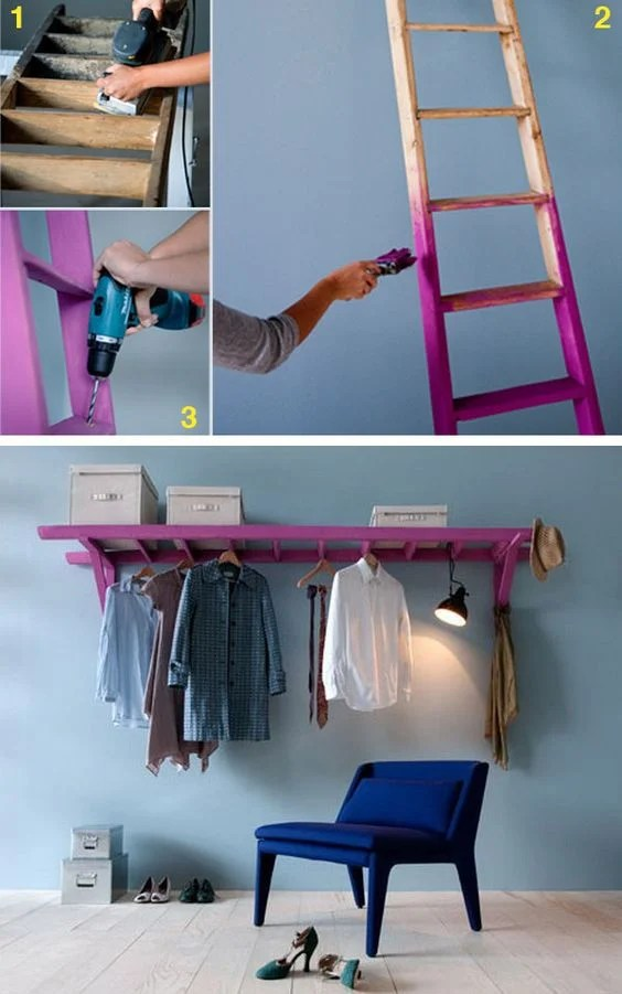 Turn an Old Ladder into a Clothes Closet...these are awesome Upcuycled & Repurposed ideas!