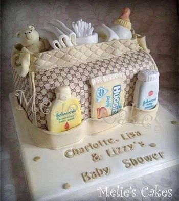 Diaper Bag Cake...these are the BEST Baby Shower Ideas!