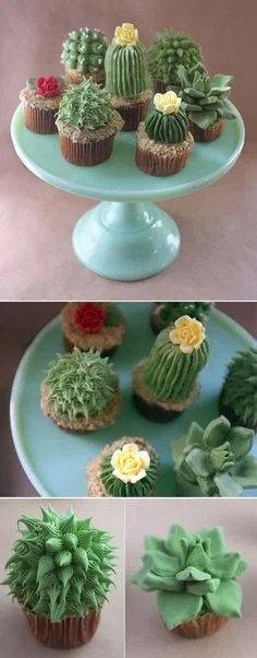 House Plant Cactus Cupcakes...these are the BEST Cupcake Ideas!