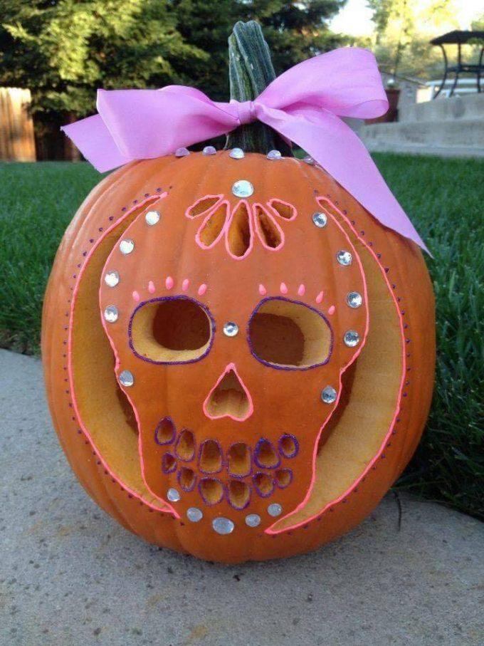 Sugar skull pumpkin with rhinestones...so cute!