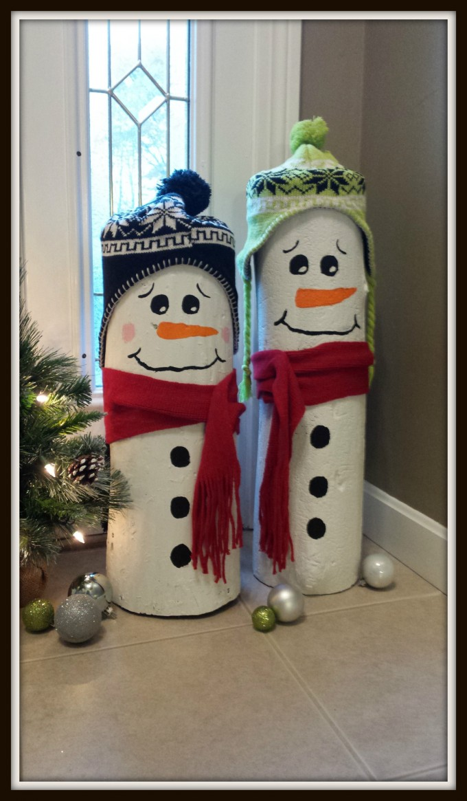 DIY Log Snowmen