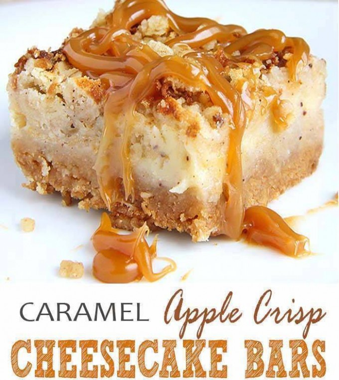 Caramel Apple Crisp Cheesecake Bars...these are the BEST Fall Dessert Recipes!
