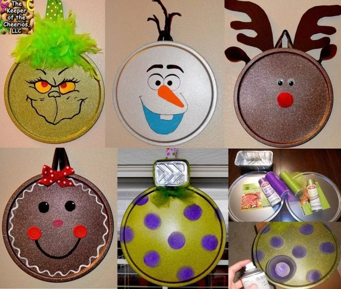 Pizza Pan Christmas Ornament Craft...these are the BEST DIY Homemade Christmas Ornaments!