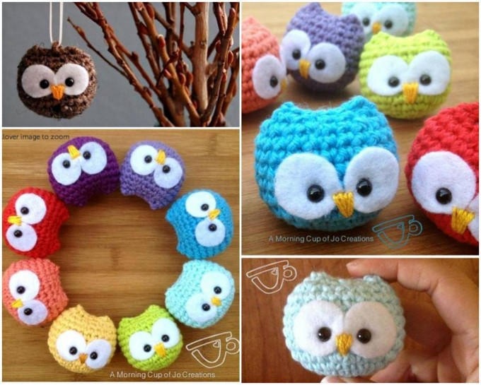 Crochet Owl Baby Ornaments...these are the BEST Homemade Christmas Ornament Ideas!