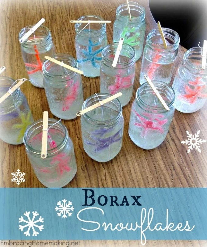 DIY Borax Snowflake Ornaments...these are the BEST Homemade Christmas Ornament Ideas!