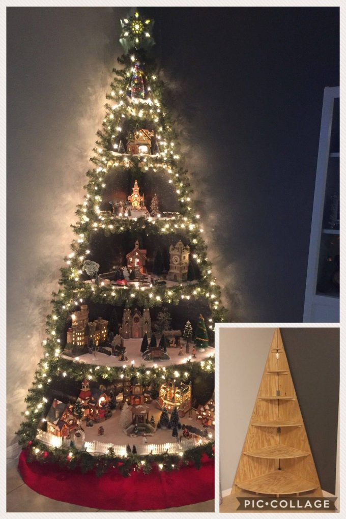 DIY Christmas Tree Village Stand