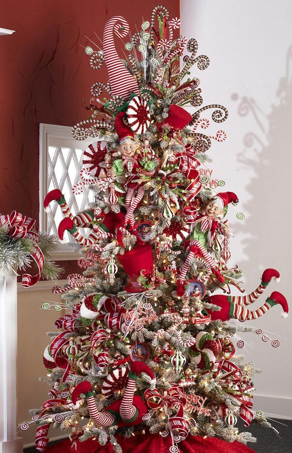 Elf Peppermint Tree...these are the most Creative Christmas Trees!