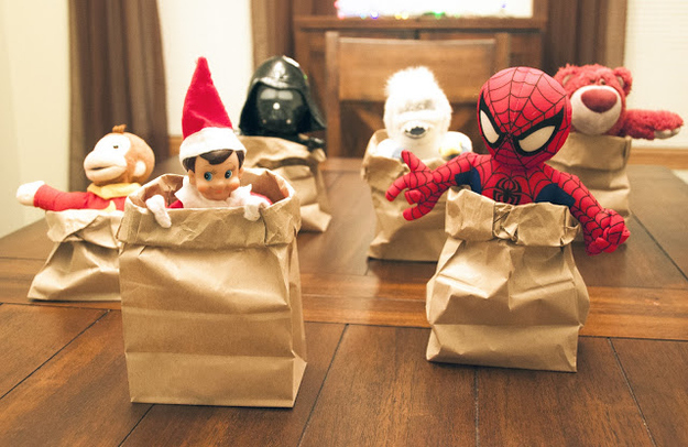 Elf Paper Sack Race with Toys