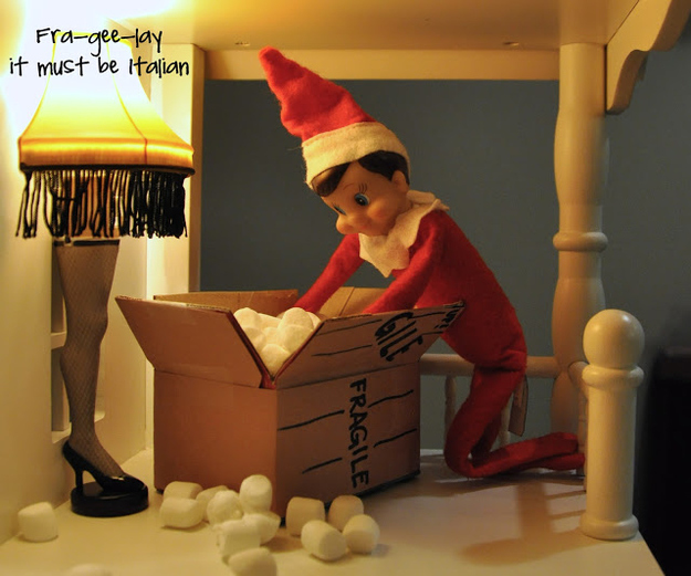 Elf on the Shelf Unpacking Gifts