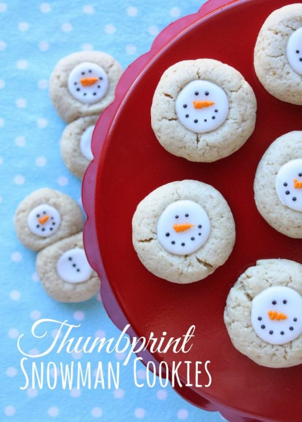Thumbprint Snowman Cookies...these are the BEST Christmas Cookie Recipes!