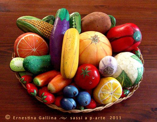 Bowl of Food Painted Rocks...these are the BEST Rock Painting Ideas!