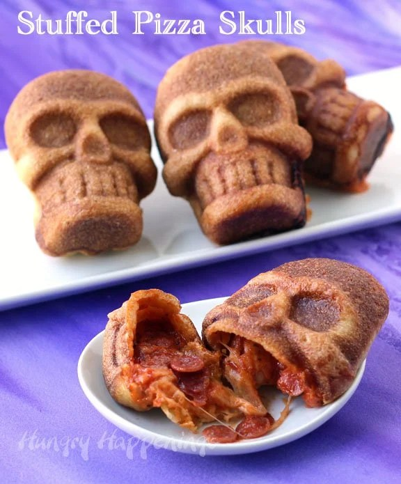 Halloween Stuffed Pizza Skulls