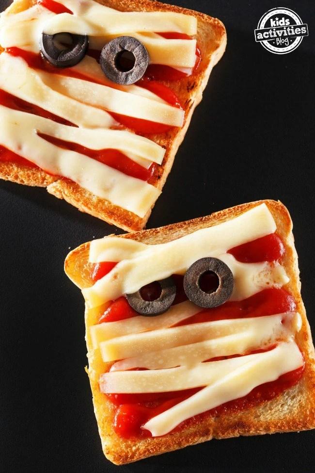 Halloween Mummy Pizza Toast