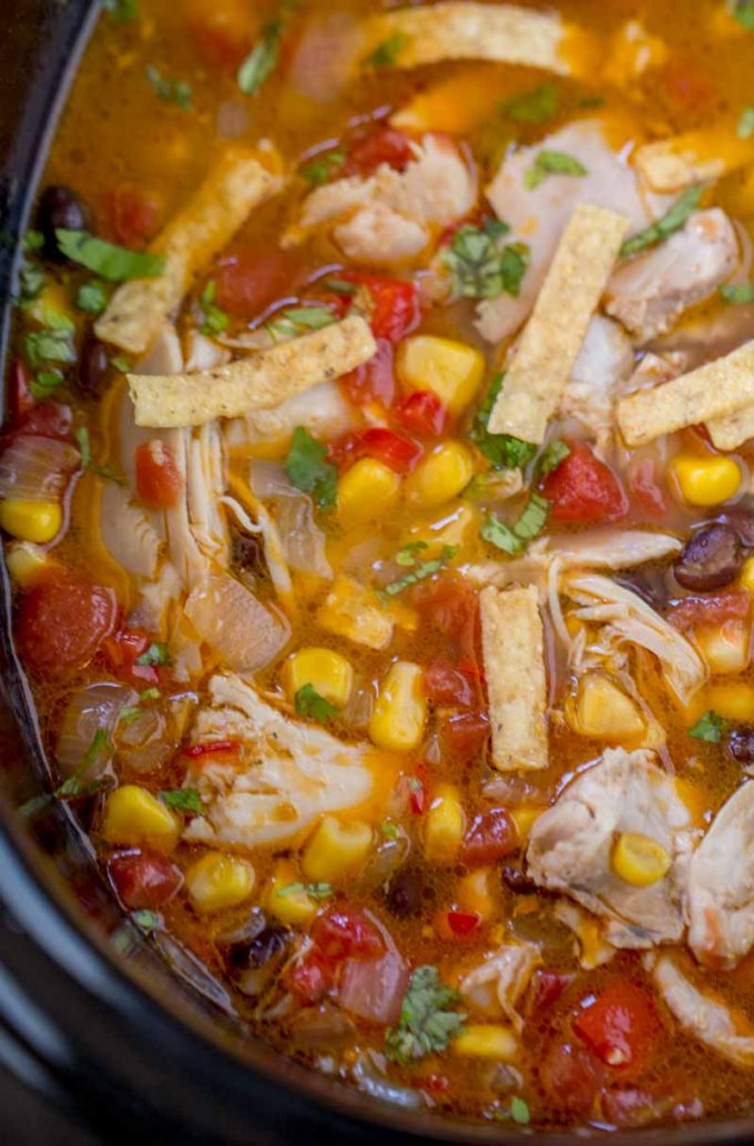 Crock Pot Chicken Tortilla Soup is the perfect warm you up meal your family will love!