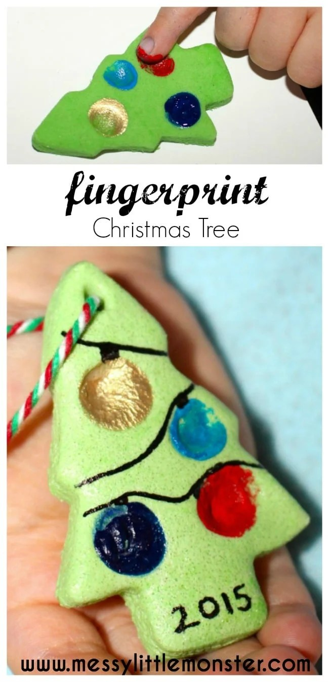 Fingerprint Christmas Tree Ornaments - Over 30 of the BEST Christmas Salt Dough Ornaments
