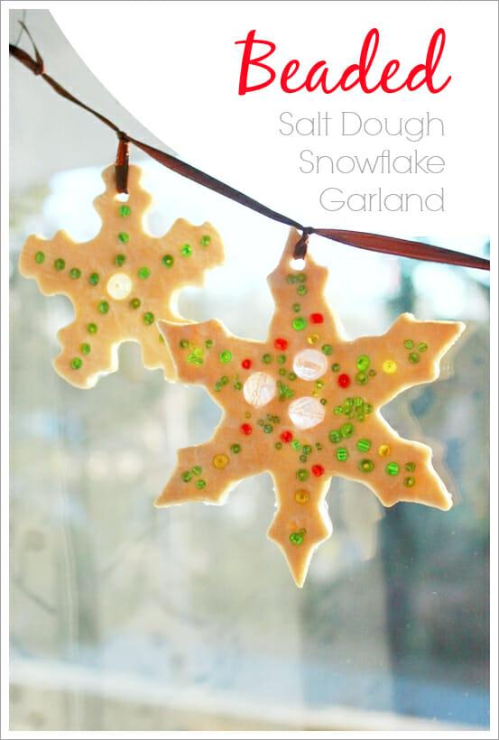 Beaded Snowflake Salt Dough Suncatcher Garland - Over 30 of the BEST Christmas Salt Dough Ornaments