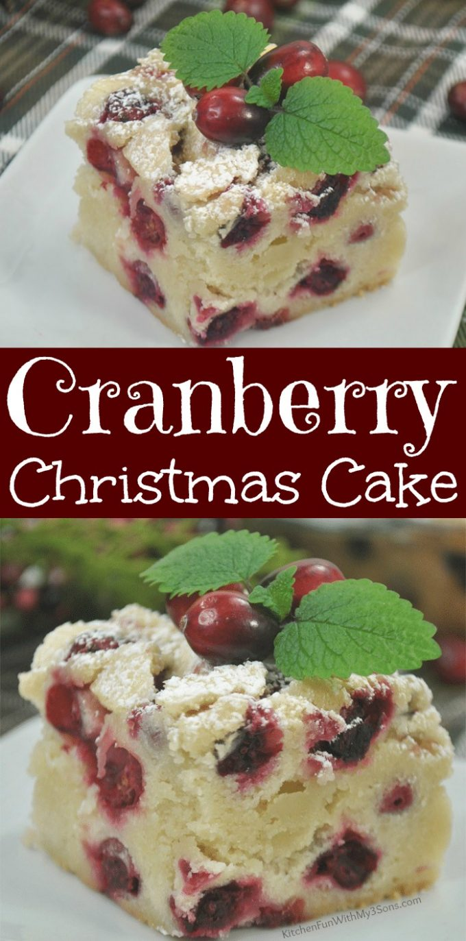 Cranberry Christmas Cake on a plate