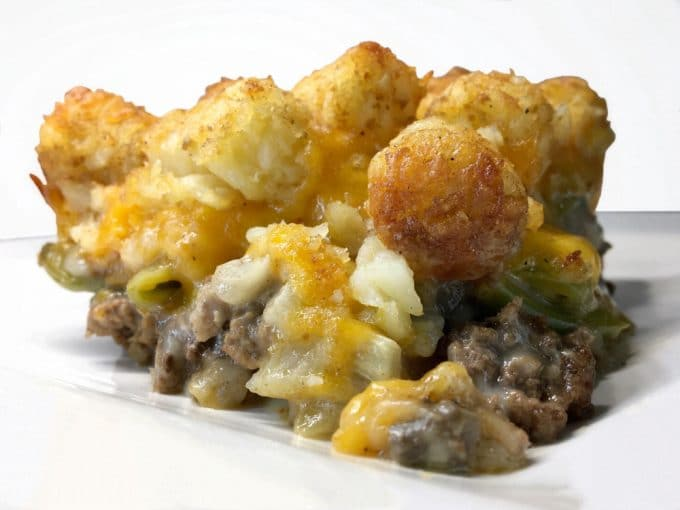 Tater Tot Casserole on a White Plate