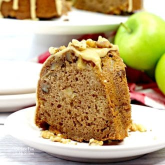 This scrumptious Caramel Apple Bundt Cake Granny Smith apples and walnuts on top is like a taking a big bite of autumn.