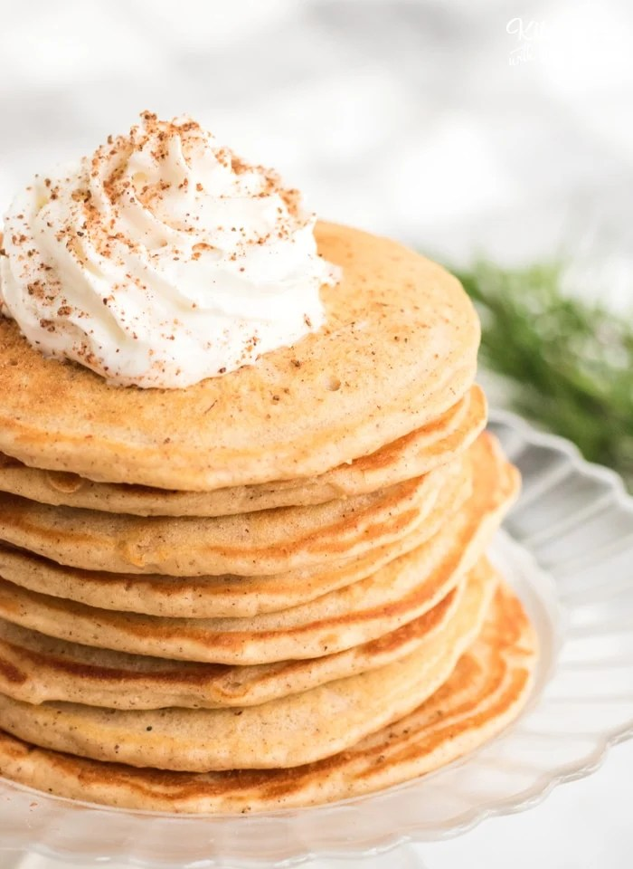 Eggnog Pancakes are made with the yummy fall flavors of cinnamon, nutmeg and yes, eggnog. This quick pancake recipe will fill your house with delicious aromas and tastes so delicious.
